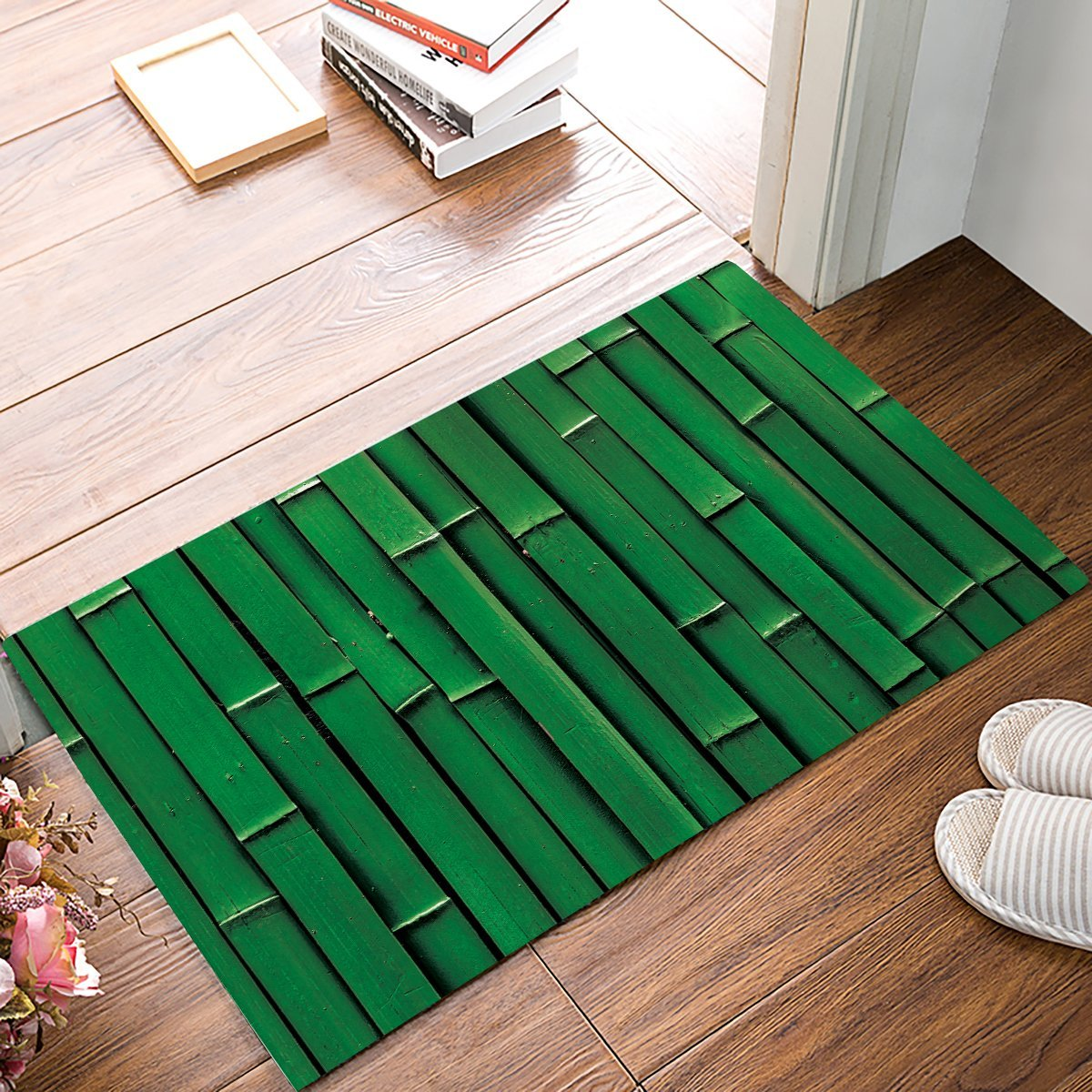 Green Bamboo Door Mats Kitchen Floor Bath Entrance Rug Mat Absorbent Indoor Bathroom Dec ...