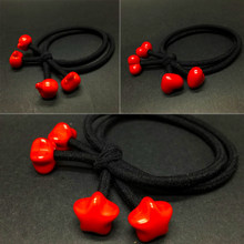 Sale 1PC Simple Girls Red beads Cartoon Two in one Korean version Cute Lovely Hair ring Hair rope tie(China)