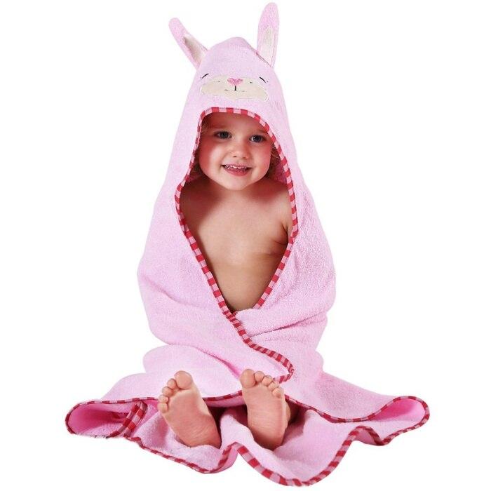 Детское махровое полотенце с капюшоном и изображением животных, халат с изображением животных для малышей, синий От 0 до 6 лет - Цвет: cat