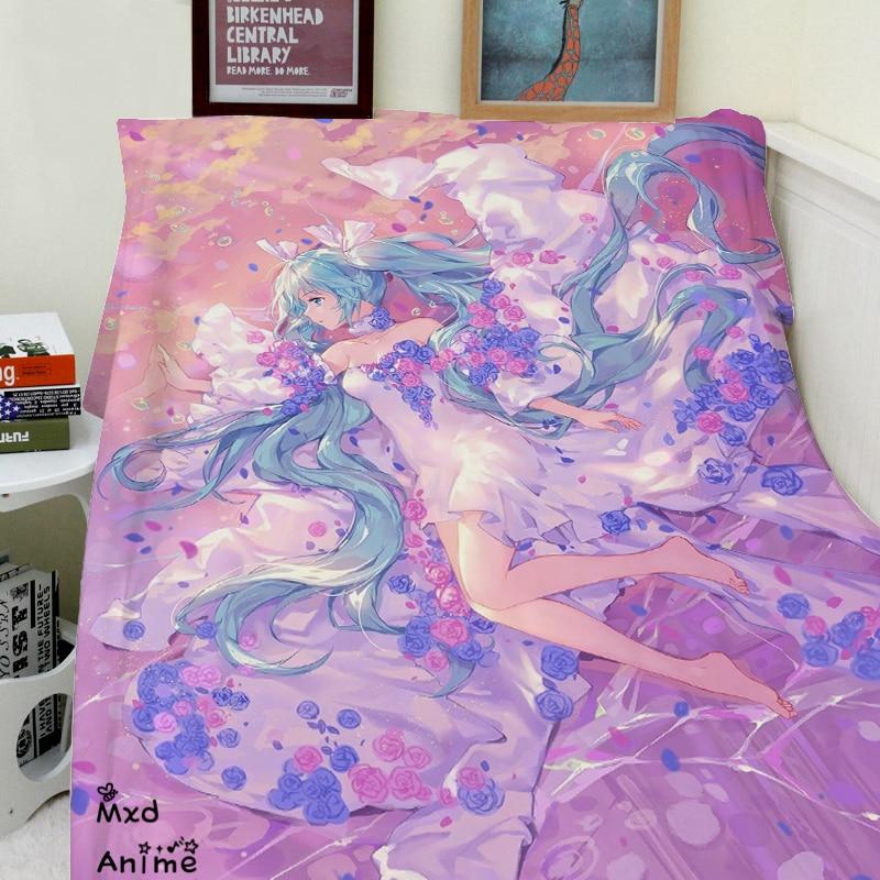 Home Goods Japanese Anime Hatsune Miku Super Soft Velvet Plush Throw Blanket Modern Line Art Blanket For Couch Throw Travel