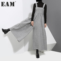 EAM 2018 New Spring High Waist Solid Color Black Gray Loose Big Size Wide Leg
