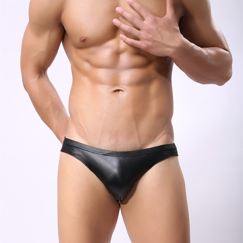 Men Briefs Stylish Sexy Glossy Underware Male Erotic Lingerie Underpants Faux Leather High Elasticity Cool Gay Fetishism Panties