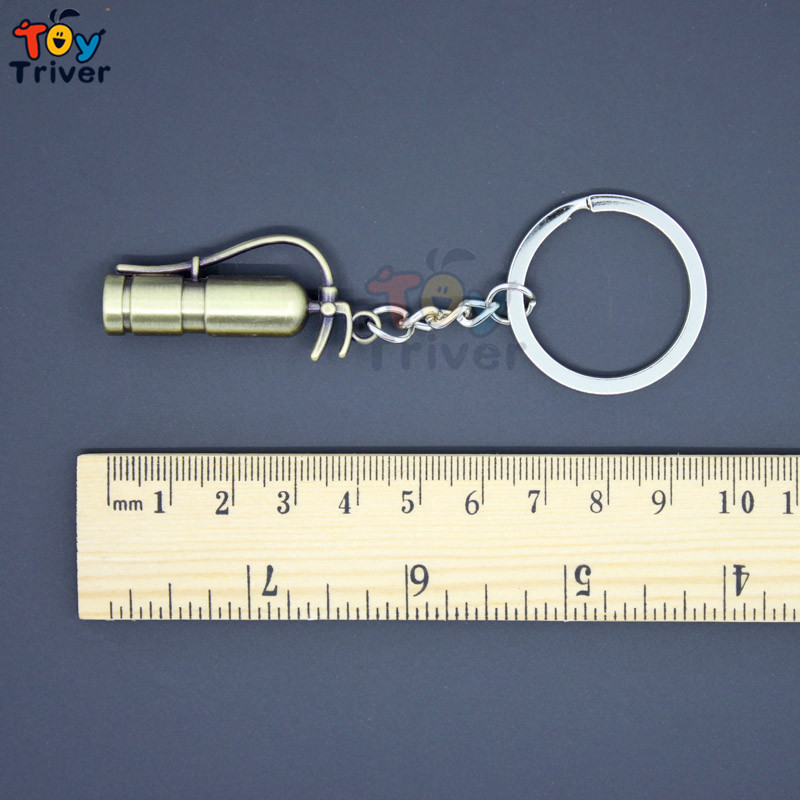 Wholesale Creative Simulation Fire Extinguisher Key Ring Key chain bag pendant toys party gift Activity prizes free shipping