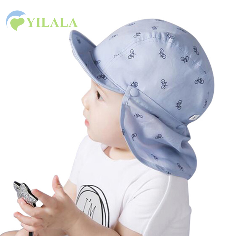 Baby zon caps katoen nek beschermen meisjes jongens caps ademend zon meisjes hoeden fiets afdrukken baby strand hoeden baby accessoires