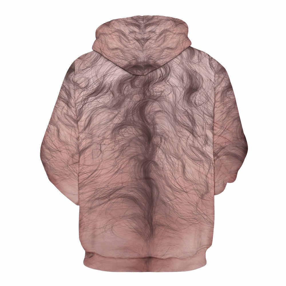Novo 140 funny muscle hairy cabelo no peito impresso jaqueta feminina com capuz femme moletom casual solto bolso hoodies casaco