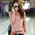 Mais recente estilo primavera e outono moda estilo coreano flores de renda meninas pullover camisola de malha