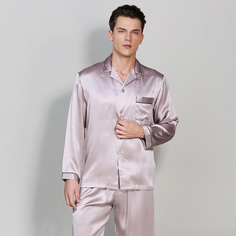100% Silk Stain Men's Pajamas Sets2019 Autumn Solid Chinese Style Long-Sleeve Male Pajama Pants Sets Blue Silk Pyjama Sleepwear