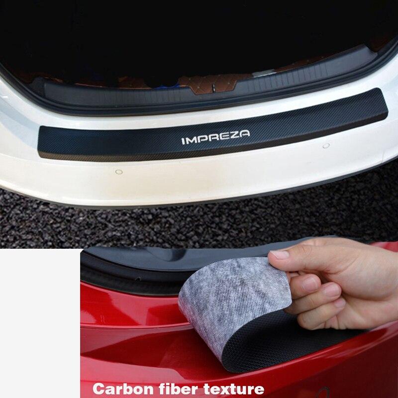 Styling de carro Para SUBARU IMPREZA Tronco guarda placa Traseira etiqueta Do Carro adesivos De fibra de Carbono de couro PU Estilo de proteção
