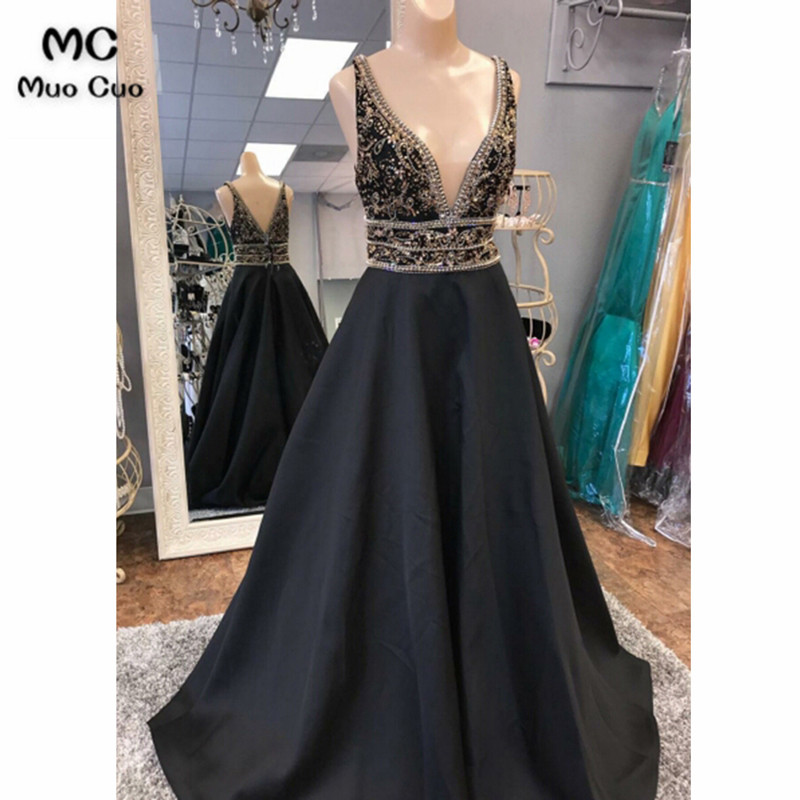 2018 Shinning   Prom     Dress   Long Deep V-Neck Heavy Crystal Beads by Hand Satin Black Women Formal Evening Gown Long   Prom     Dresses