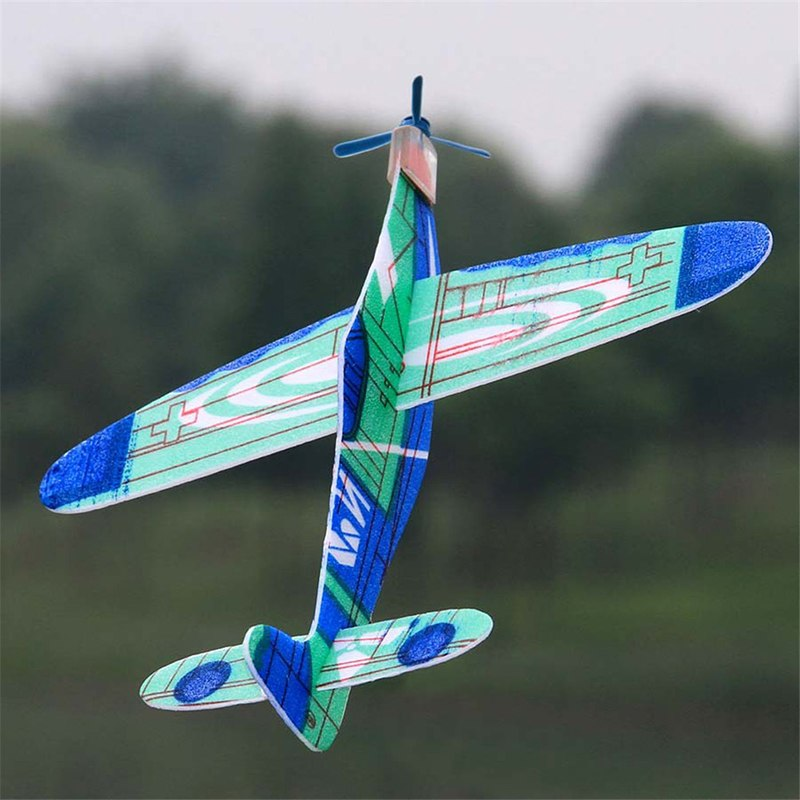 1Pcs 19cm Plastic Hand Launch Throwing Airplane Glider Plane Model Outdoor Kid Toys Aircraft Inertial EPP Airplane Random Color