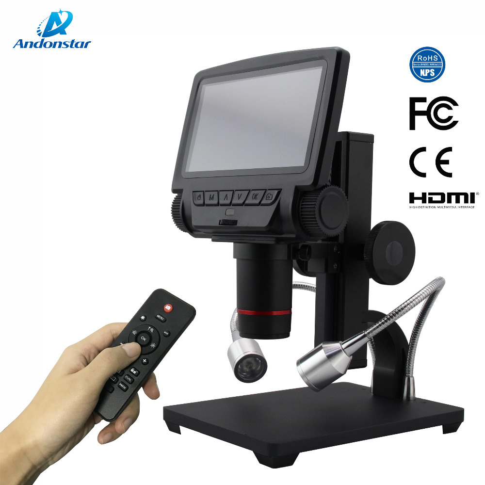 AndonstarNew HDMI/AV microscópio digital USB microscópio de longa distância do objeto para o reparo do telefone móvel ferramenta de solda bga smt relógio
