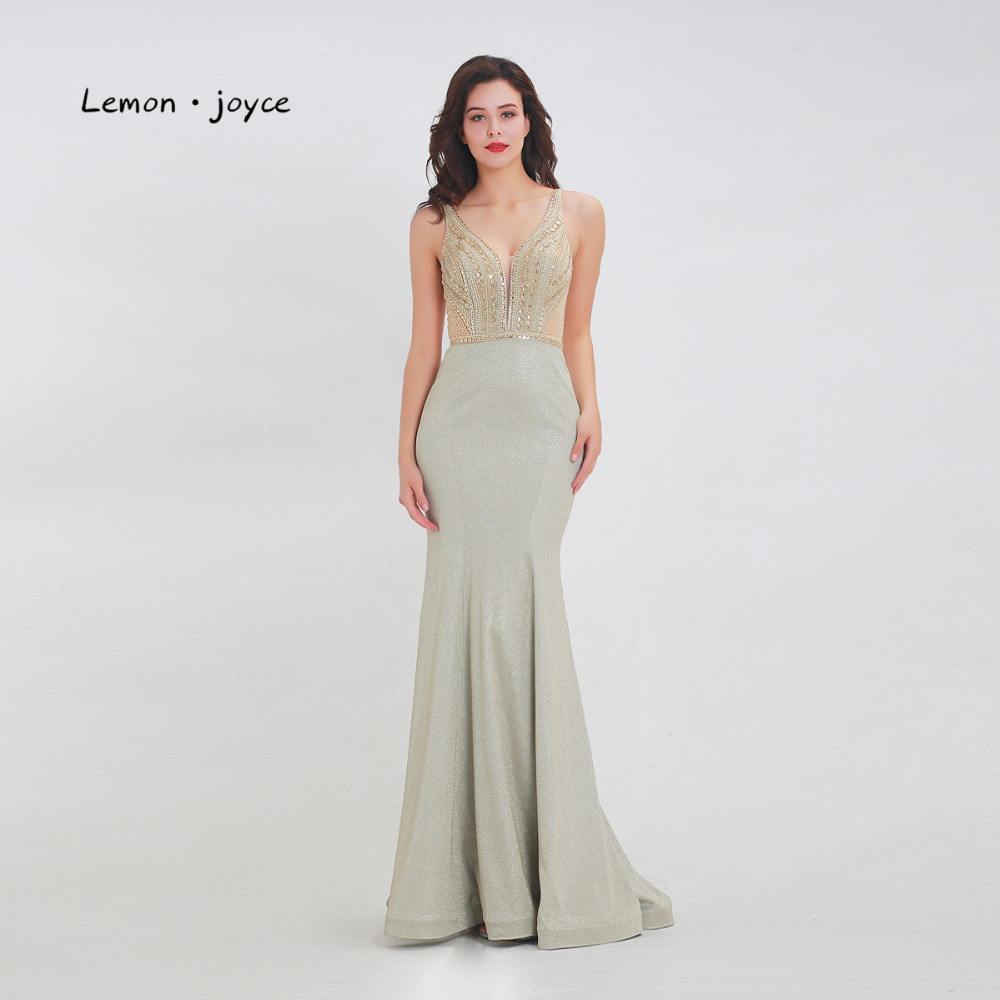 Lemon joyce Formal Evening Dresses Long 2019 V-neck Beading See-Through Floor Length Mermaid Lady Party prom Gown Plus Size