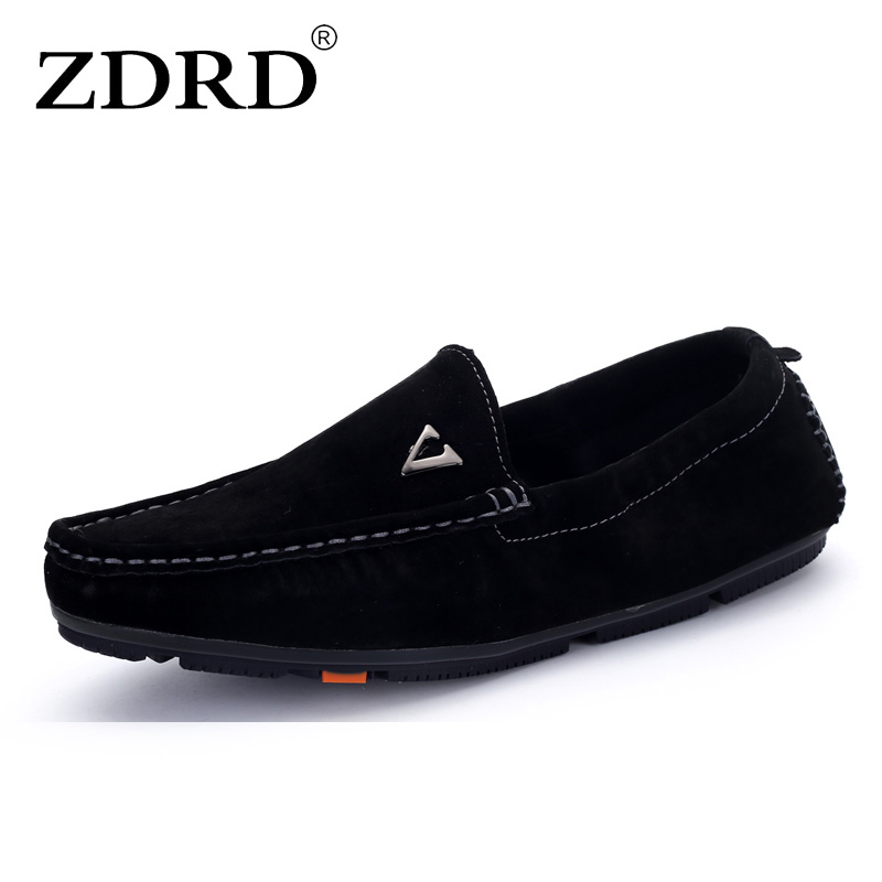 ZDRD Brand Mens Casual loafers Shoes Fashion Peas Shoes Suede Leather Men Loafers Moccasins Slip On Men Flats Male Driving Shoes 2017 autumn fashion men pu shoes slip on black shoes casual loafers mens moccasins soft shoes male walking flats pu footwear