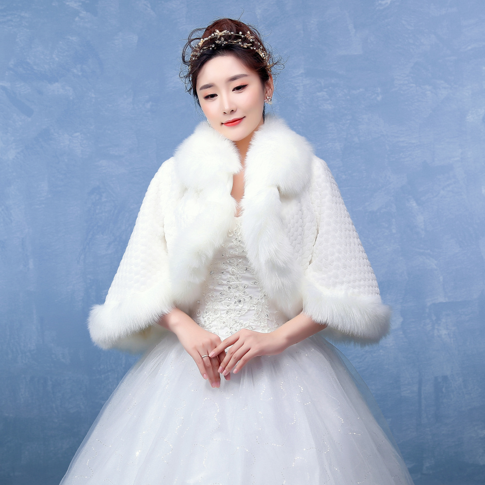 Free shipping in stock beautiful fur winter bridal wedding for Winter shawls for wedding dresses
