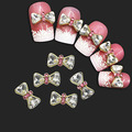 10 Pcs Hot 3D liga strass laço Bowknot Nail Art decoração adesivos DIY