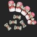 10 unids caliente Rhinestone de la aleación 3D de la pajarita del Bowknot Nail Art decoración pegatinas DIY