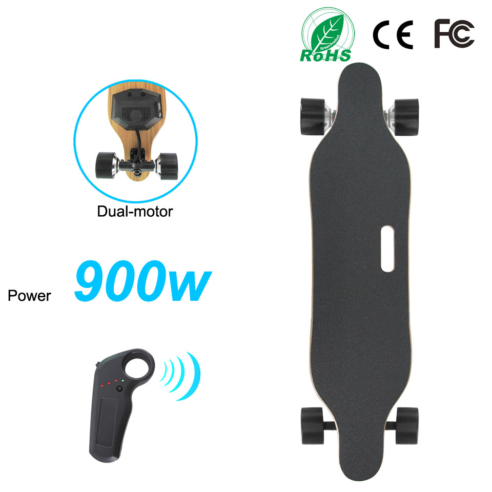 900W Dual Motor Electric Longboard Skateboard 4 wheels Electric Skate boards With Remote Controller PU Wheel Size 83*52mm Скейтборд