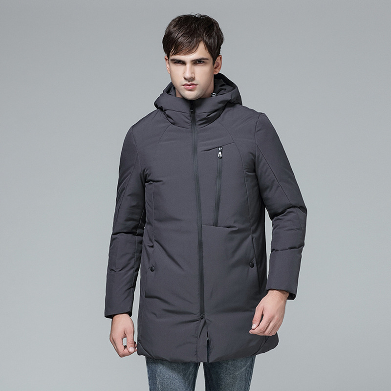 Winter Hooded Thick Duck Down jacket Men Fashion Windproof Long Padded Down Coats Pockets Outwear Warm Clothing 081901
