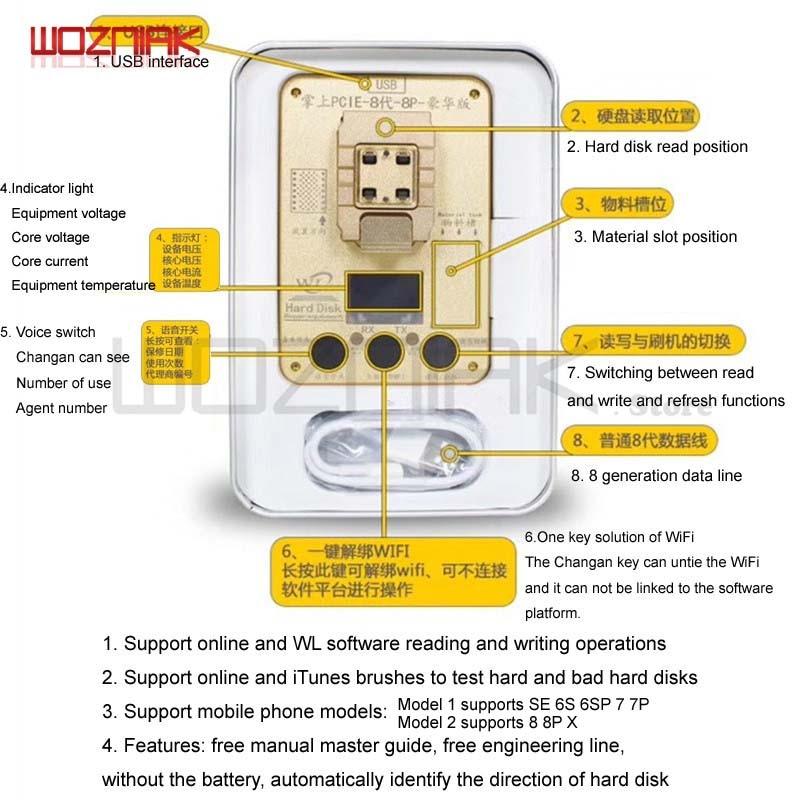 Wozniak WL PCIE NAND Flash ic puce pour iphone SE 6 s 6sp 7 7 p PRO ard disque test instrument de réparation Programmeur HDD Série SN