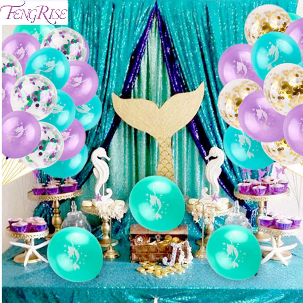 FENGRISE Little Mermaid Party Supplies Happy Birthday Banner ONE Mermaid Decor Wedding Birthday Party Decor Baby Shower Decor