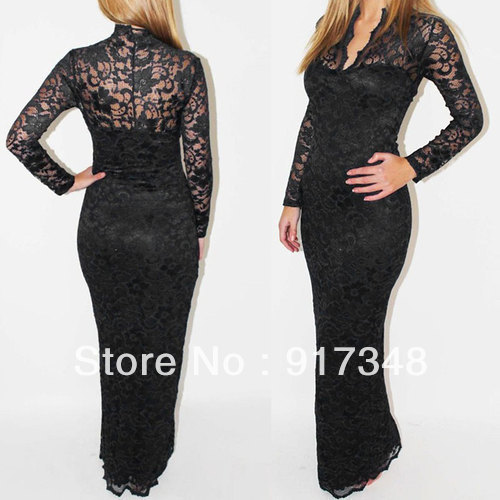 White Black or  Blue Sexy Sheath Ankle Length Lace Dress Women Clubwear