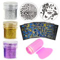 Stencils Template For Nails Scraper Stamp Stamping Nail Tools Kits Nail Art Glitter Power Stickers Set TMOW010