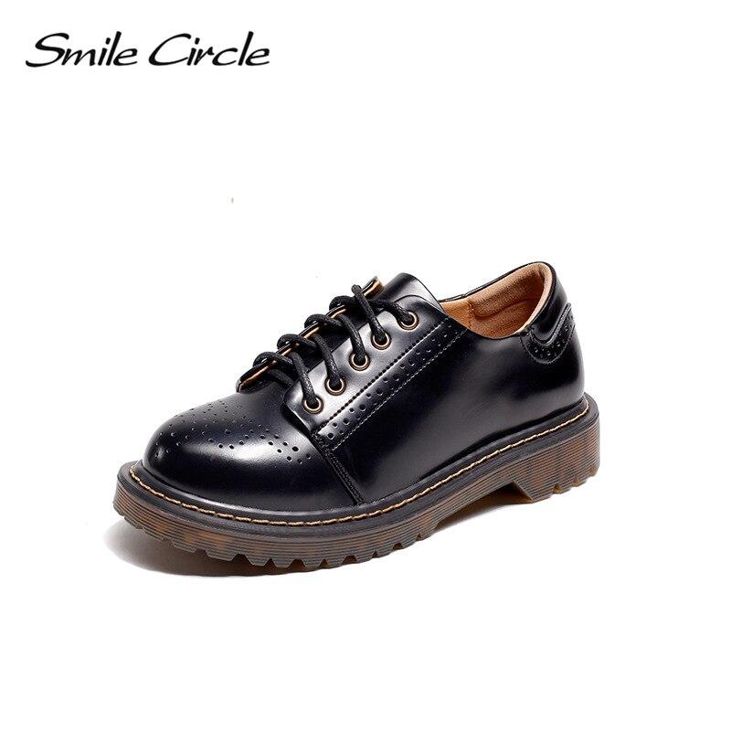 Smile Circle Oxford Flats casual Shoes Women Patent leather platform shoes Autumn Comfortable Round Toe Lace