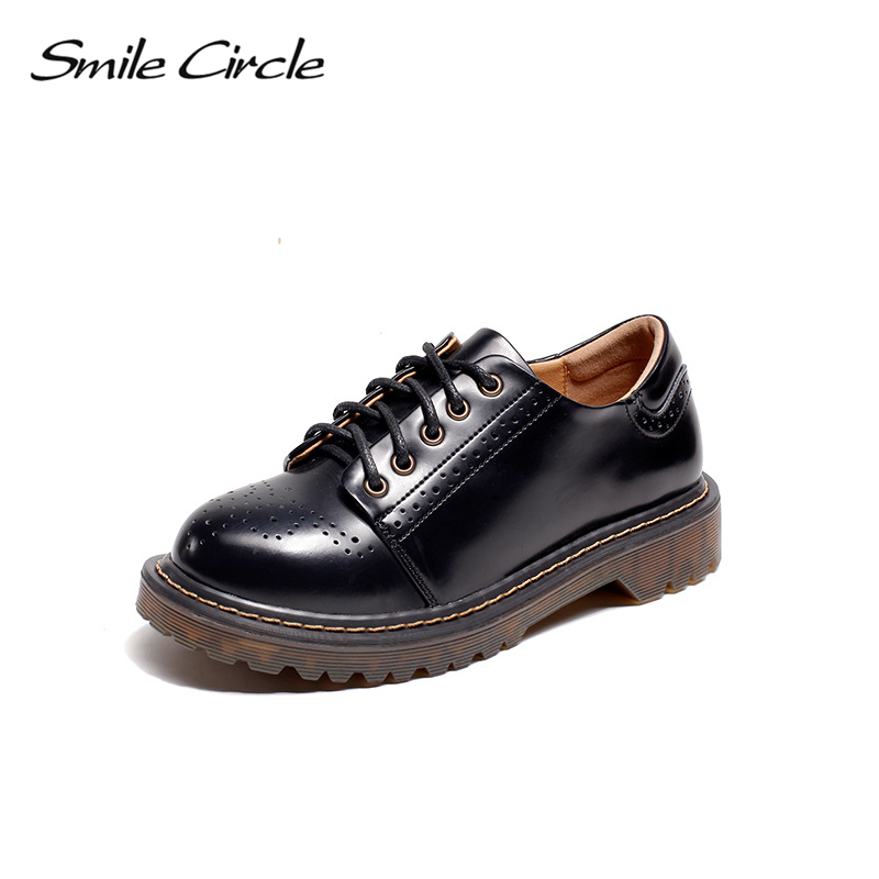 Smile Circle Oxford Flats casual Shoes Women Patent leather platform shoes Autumn Comfortable Round Toe Lace-Up Martin shoes smile circle 2018 new genuine leather sneakers women lace up flats shoes women casual shoes round toe flats platform shoes c6004