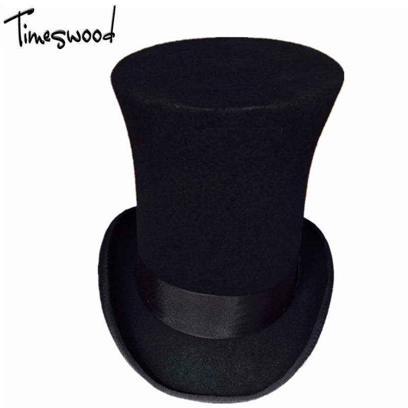 65f0ed957ea47 25cm Height Steampunk Hat Wool Fedoras Mad Hatter Top Hat Victorian Male  Millinery Traditional Magic Trick Magician Show Caps