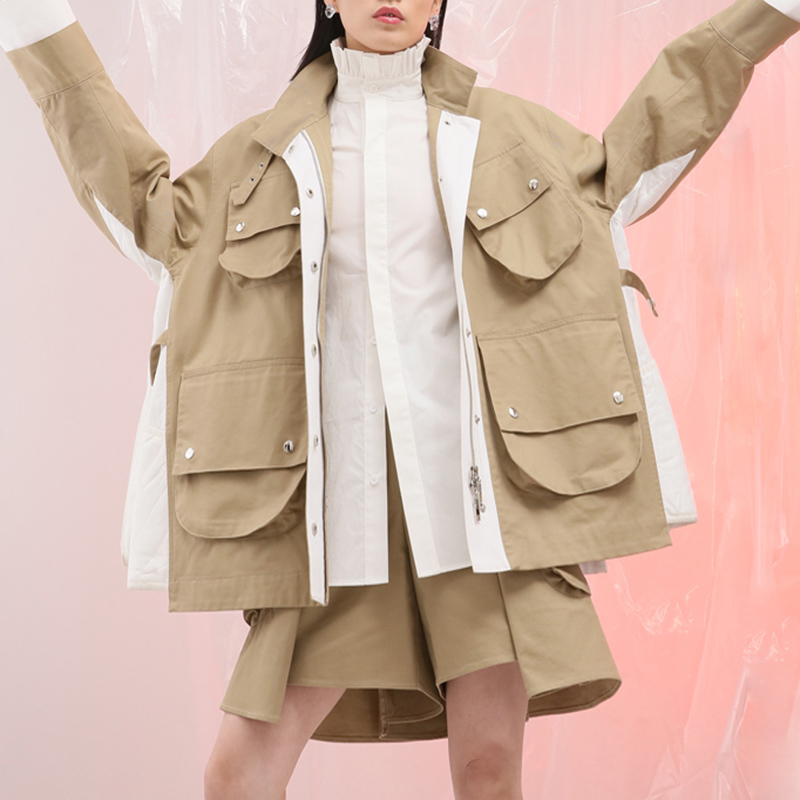 CHICEVER 2019 Autumn Jacket For Women Coat Female Long Sleeve Loose Oversize Stand Women's Coats Clothes Fashion New