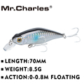 El Sr. Charles CMC015 Señuelos de Pesca 70mm/8,5G Shad 0-0,8 m flotante calidad profesional Minnow cebo duro 3D ojos Crankbait