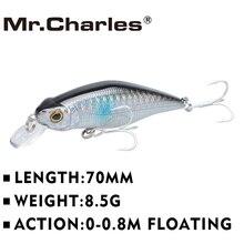 Mr.Charles CMC015 Fishing Lures 70mm/8.5g Shad , 0-0.8M Floating , Quality Professional Minnow Hard Bait 3D Eyes Crankbait
