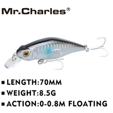 Mr.Charles CMC015 Fishing Lures 70mm/8.5g Shad , 0-0.8M Floating , Quality Professional Minnow Hard Bait 3D Eyes Crankbait