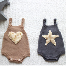 Baby Knit Romper Childrens Winter Overalls Star Love Sweater Bodysuit Grey Beige Tiny Bodie Babies Christmas