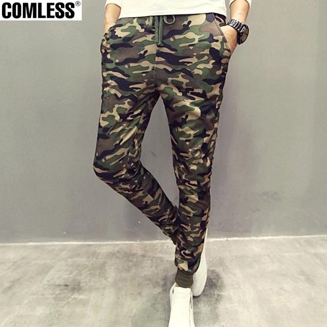 2016 Calças Dos Homens Corredores Sweatpants Para Homens Camuflagem Militar Calças Largas Camo Calças Pantalones Hombre Tamanho M-XXL dos homens