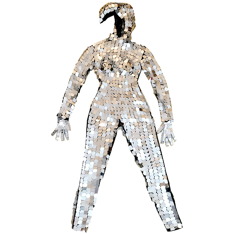 Image 5 - 2019 Mirror Costume Women Men Mirror Dress Stage Costume ds Party Performance Nightclub Jumpsuit Bar GoGo Dance Costume VDB681-in Chinese Folk Dance from Novelty & Special Use