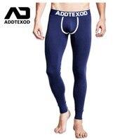 Marka ADDTEXOD Cienkie druku bawełna Lycra sexy Legginsy ciepłe kalesony kalesony gay Rajstopy Kompresja Sweat Pants