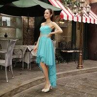 2017 Cor Personalizada e Siz Longo Traseira Frente Curto Turquesa Vestido Da Dama de Roxo Azul Royal Vestidos Dama de Honra Baratos Com Menos de 50