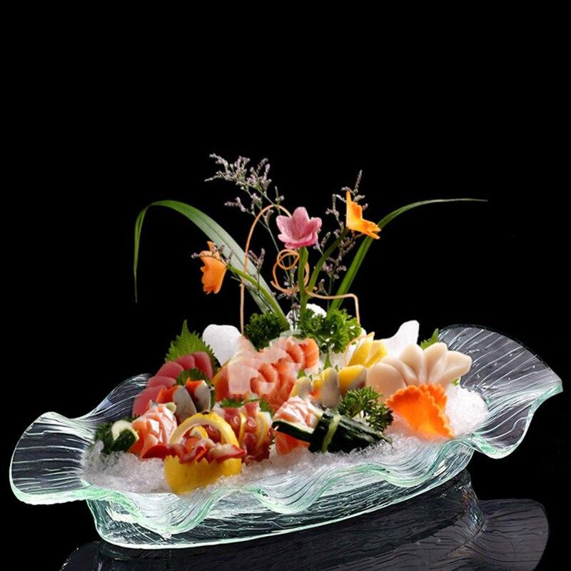 Plateau en acrylique plat à Sushi | Plateau ovale, assiette à glace, Buffet Restaurant bord ondulé, collation aux fruits avec planche étanche, support pour plateau Sashimi 1 pièces