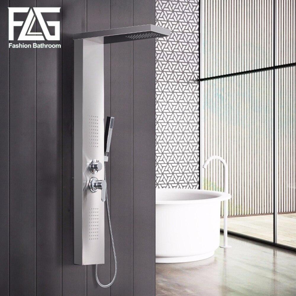 FLG Modern Stainless Steel Rain Waterfall Shower Panel Wall Mounted SPA Massage System Shower Column Kit