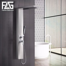 FLG Modern Stainless Steel Rain Waterfall Shower Panel Wall Mounted SPA Massage System Shower Column Kit with Jets Handshower new waterfall fashion luxury gold shower column shower panel hand shower massage jets stainless steel plate shower faucet