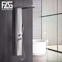 FLG Modern Stainless Steel Rain Waterfall Shower Panel Wall Mounted SPA Massage System Shower Column Kit with Jets Handshower