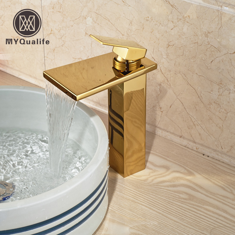 Brand New Waterfall Basin Vanity Sink Mixer Faucet Deck Mount One Handle Washbasin Taps with Hot Cold Water Single Hole