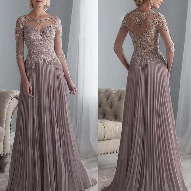 Vestido De Madrinha Beaded Lace Mother Of The Bride Dresses Plus Size Chiffon Half Sleeves Evening Dress For Wedding