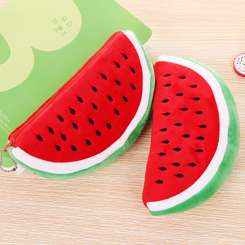 Cute <font><b>Kawaii</b></font> Practical <font><b>Big</b></font> Volume Watermelon Fruit Kids Pen <font><b>Pencil</b></font> <font><b>Case</b></font> Bags Gift Cosmetics Purse Wallet Holder Pouch Stationery image