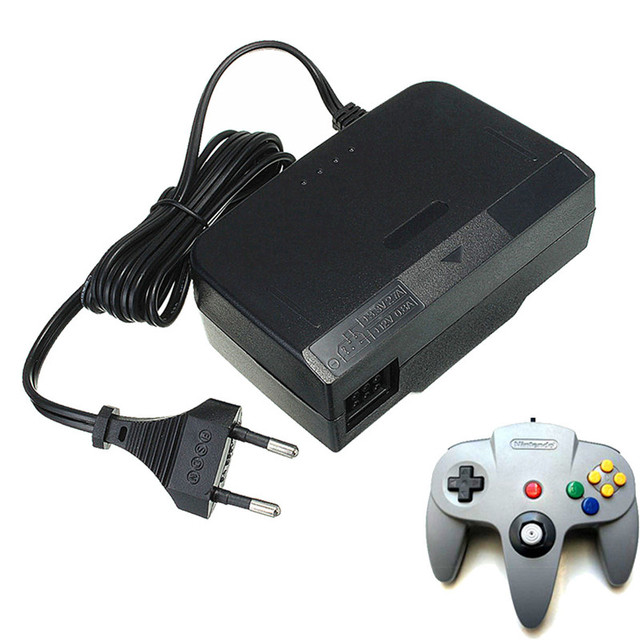 Black EU Plug AC 100-245V Wall Charger AC/DC Adapter Power Supply Charger For Nintendo 64 for N64