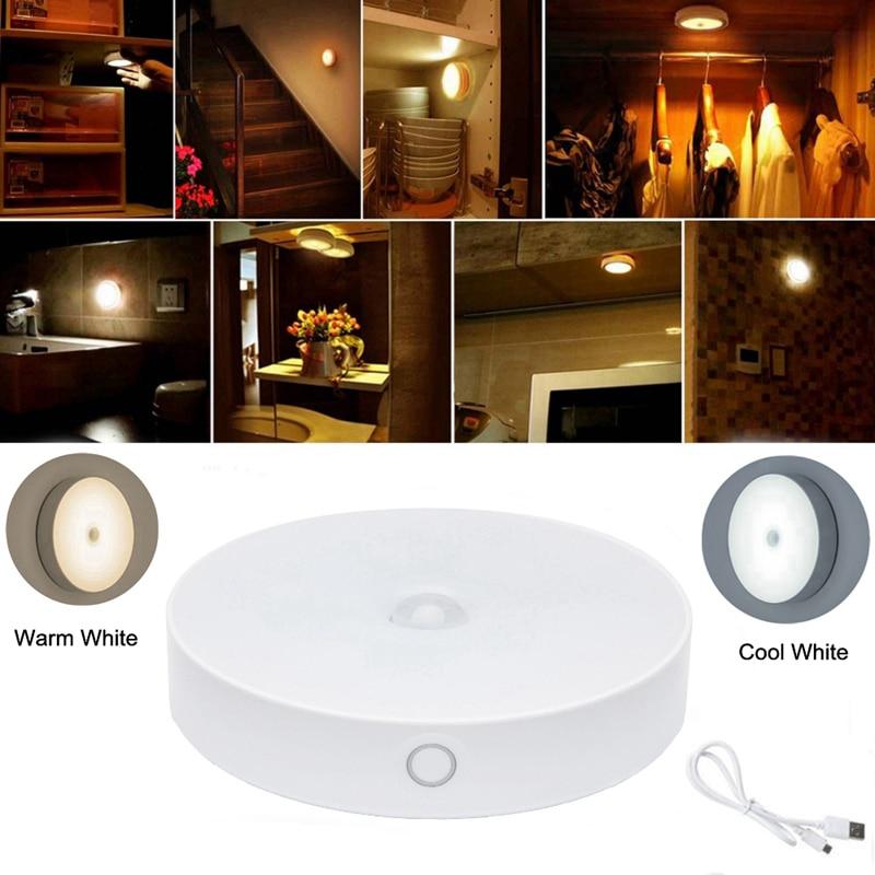 6 LED Under Cabinet Light PIR Motion Sensor Light For Wardrobe Cupboard Closet Kitchen Bedroom Night Light Lamp USB Rechargeable