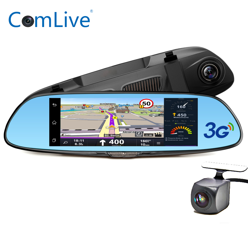 Camlive 7 3G dash camera car DVRs GPS navi bluetooth Dual cams HD1080P night vision rearview mirror car video recorder ROM16GB