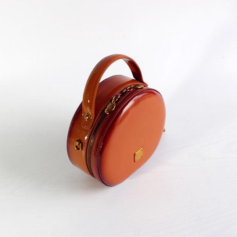 BENVICHED Das Senhoras saco de couro Real Rodada 2019 nova moda Pure color bolsa único saco de ombro de couro saco de Patente Brilhante c376 - 2