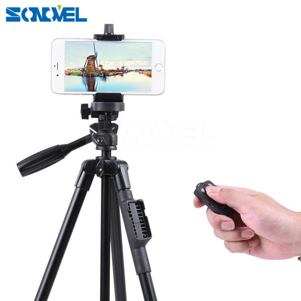 YUNTENG 5208 Aluminum Tripod with 3-Way Head & Bluetooth Remote + clip for Camera Phone 6 6S 7 8 Free Shipping
